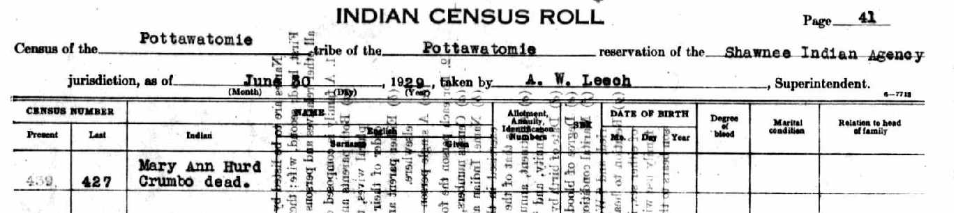 1929 U.S. Indian Census. Citizen of Potawatomi, Iowa, and Sauk and Fox Indians, Absentee Shawnee Agency, Oklahoma, Records of the Bureau of Indian Affairs, Record Group 75; National Achives, Washington, D.C., page 41.
